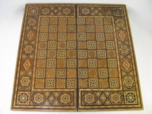 319: SOUTH ASIAN WOOD INLAY GAME BOARD BOX