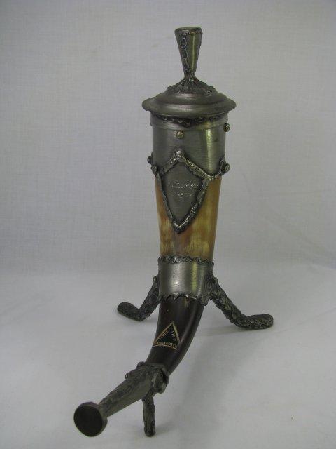 657: TERN TINN NORWEGIAN HORN & PEWTER FOOTED CUP.