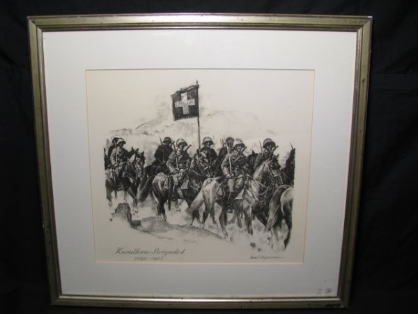 """659: MILITARY LITHOGRAPH """" KAVALLERIE - BRIGADE 4"""""""
