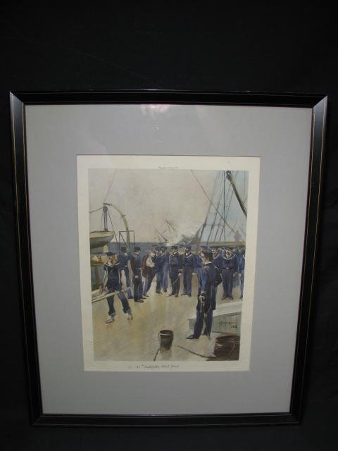 662: MILITARY LITHOGRAPH OF NAVAL BOAT SCENE