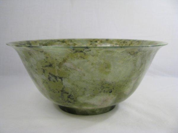 663: CHINESE NATURAL GREEN JADE STONE BOWL