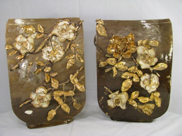 665: PAIR LG CERAMIC VASES WITH GOLD FLORAL RELIEF