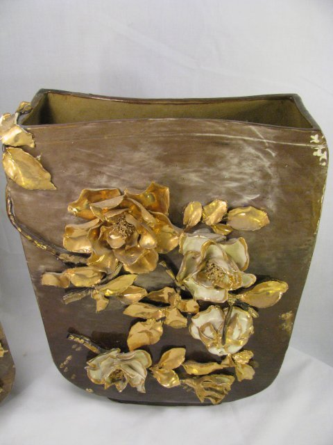665: PAIR LG CERAMIC VASES WITH GOLD FLORAL RELIEF - 2