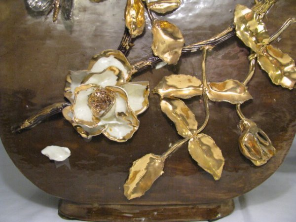 665: PAIR LG CERAMIC VASES WITH GOLD FLORAL RELIEF - 3