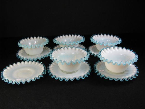 669: BLUE RUFFLED OPAQUE GLASS FINGER BOWLS PLATES 11pc