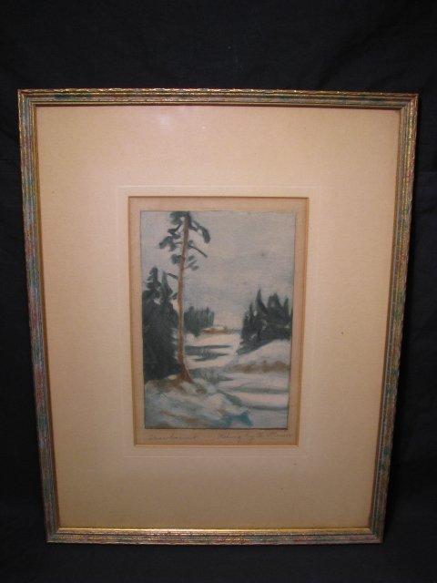 """671: HAND COLORED ETCHING BY W. STRASSER """" SNOWBOUND"""""""