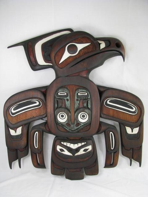 672: N.W. HAIDA AMERICAN INDIAN WOODEN EAGLE