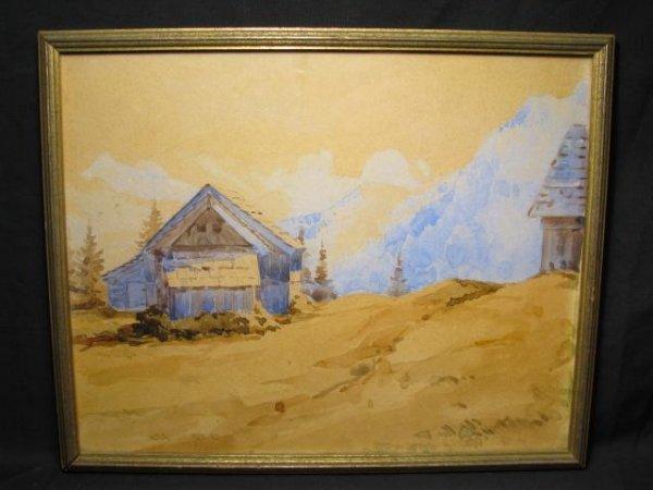 673: SM GOUACHE ON PAPER PAINTING LANDSCAPE MOUNTAINS