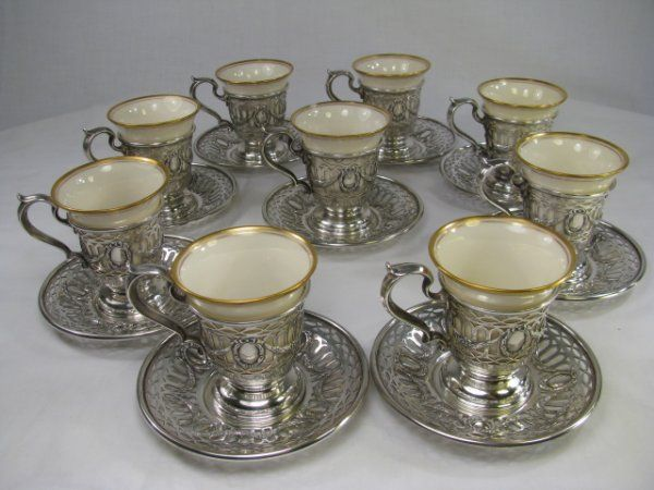 802: STERLING SILVER & LENOX DEMITASSE CUPS SAUCERS 9pc