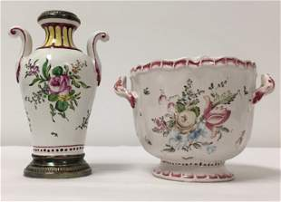 VEUVE PERRIN FAIENCE POTTERY VASE & FOOTED POT