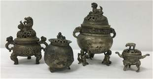 FOUR CHINESE CAST WHITE METAL CENSERS