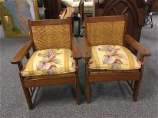 PAIR MISSION STYLE WOOD & RATTAN ARMCHAIRS