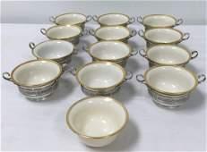 TWELVE PORCELAIN & STERLING SILVER BOUILLON CUPS