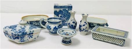 CHINESE & JAPANESE BLUE & WHITE PORCELAIN etc 9 PC