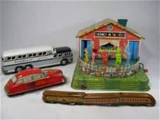 90: VINTAGE METAL TOYS CAR BUS TRAIN CARS HOUSE 6 PCS