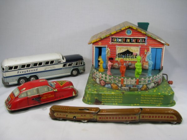 90: VINTAGE METAL TOYS CAR BUS TRAIN CARS HOUSE 6 PCS