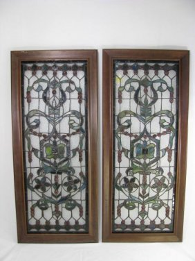201: PAIR STAINED GLASS WINDOW STYLE PANELS FRAMED