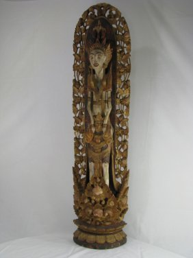 202: BALINESE TEMPLE STATUE LARGE WOOD CARVED & PAINTED