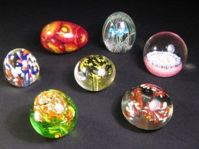 207: SEVEN COLLECTIBLE GLASS PAPERWEIGHTS