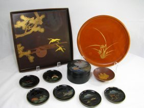 JAPANESE LACQUERED TRAYS COASTERS & BOWL
