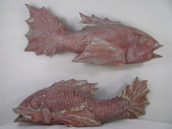 219: TWO LARGE JAPANESE CARVED WOOD CARP FIGURES