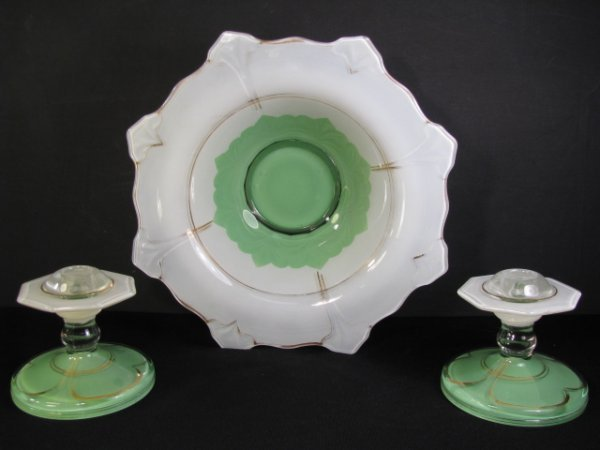 220: RETRO GREEN FROSTED GLASS BOWL & CANDLESTICKS