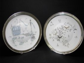 221: TWO RETRO ROSENTHAL PLATES STERLING SILVER RIMS