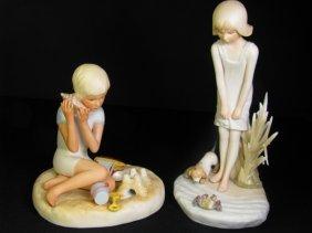 222: 2 CYBIS BISQUE FIGURINES GIRL & BOY AT THE BEACH