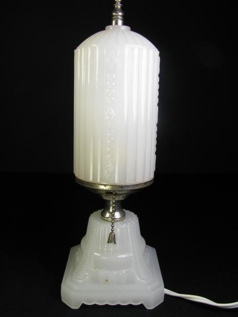223: ART DECO TABLE LAMP WHITE GLASS W/ CHROME ACCENTS