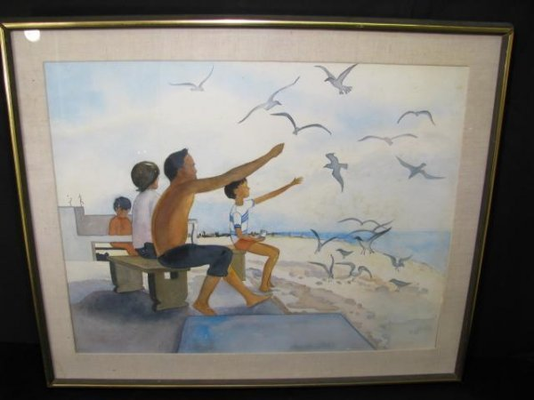 """337: WATER COLOR PAINTING """" FLORIDA HOLIDAY"""" SIGNED"""