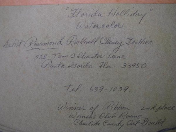 """337: WATER COLOR PAINTING """" FLORIDA HOLIDAY"""" SIGNED - 9"""