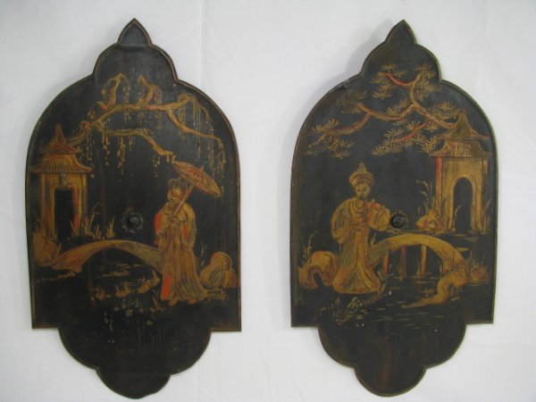 482: TWO 19th C  TOLE CHINOISERIE  PAINTED PLAQUES