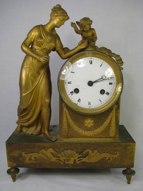 508: FRENCH GILT BRONZE FIGURAL MANTEL CLOCK