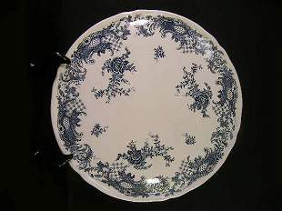 VILLEROY BOCH BLUE WHITE CAKE PLATE VALERIA