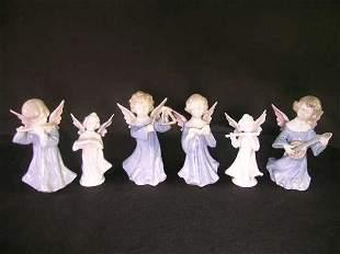 ASST PORCELAIN GOEBEL STYLE BLUE GLAZED ANGELS 6 P