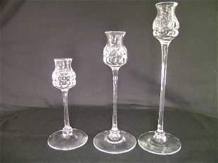 KOSTA CRYSTAL CANDLE STICK HOLDERS 3 PCS
