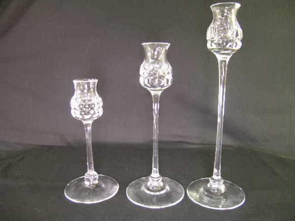 515: KOSTA CRYSTAL CANDLE STICK HOLDERS 3 PCS