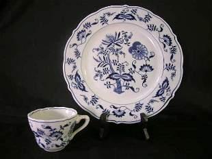 BLUE DANUBE BLUE WHITE PORCELAIN PLATE CUP