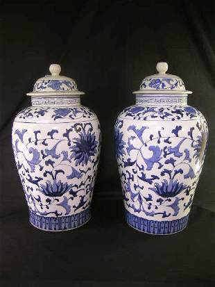 PAIR LARGE CHINESE EXPORT STYLE GINGER JARS