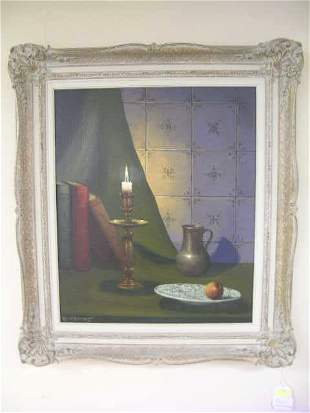 OIL ON BOARD STILL LIFE PAINTING SIGNED
