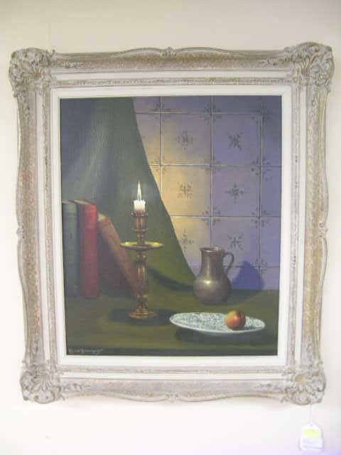 528: OIL ON BOARD STILL LIFE PAINTING SIGNED