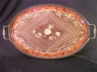 ITALIAN MARQUETRY INLAID GALLERY SERVING TRAY