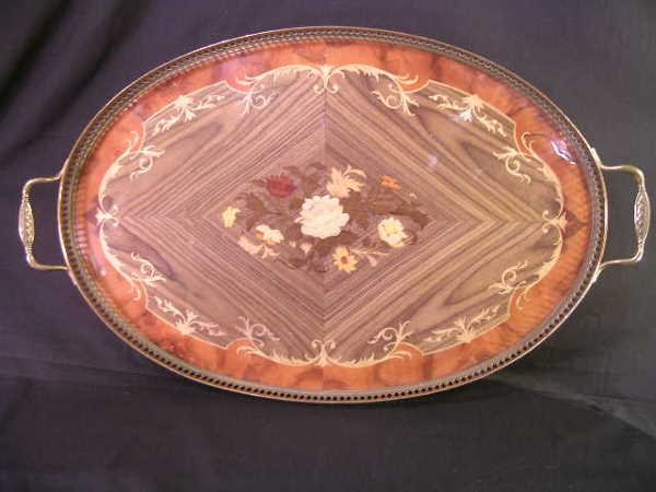 530: ITALIAN MARQUETRY INLAID GALLERY SERVING TRAY