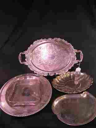 GROUP ASSORTED SILVER PLATE TRAYS 5 PCS