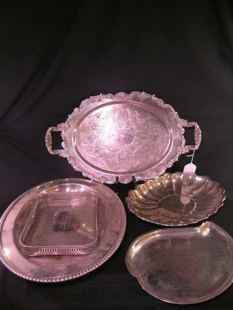 533: GROUP ASSORTED SILVER PLATE TRAYS 5 PCS