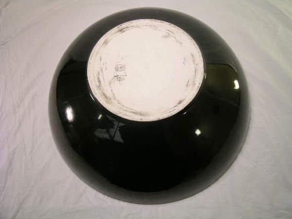 541: EXTRA LARGE HALL POTTERY BLACK CENTERPIECE BOWL - 4