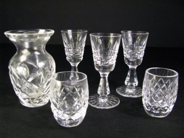 602: WATERFORD CUT CRYSTAL KYLEMORE GLASSES & VASE 6pcs