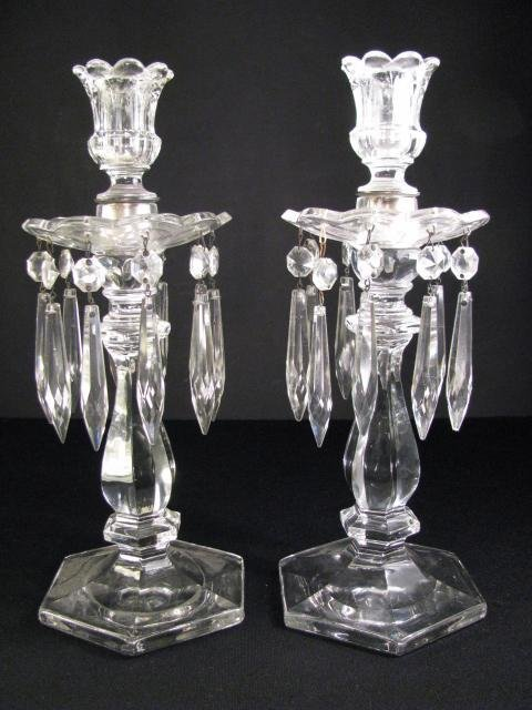 608: PAIR CLEAR DEPRESSION GLASS CANDLESTICKS W/PRISMS