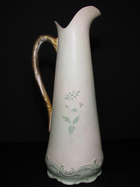 613: HAND PAINTED HAMPSHIRE POTTERY VASE EWER PITCHER
