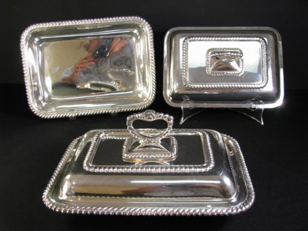 614: TWO ENGLISH SILVER PLATE COVERED DISHES
